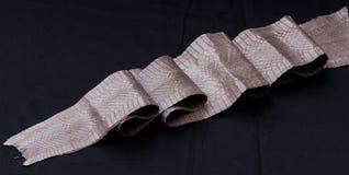 Genuine cobra snakeskin leather, snake skin, texture, animal, reptile on a black background. Stock Photos