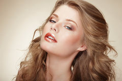 Genuine Comely Woman with Flossy Whity-Brown Hair Royalty Free Stock Photography