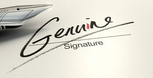 Genuine Fake Signature. A deceptive concept showing a pen having just written on a white paper a signature that reads genuine but reads fake with a closer look Stock Photo