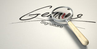 Genuine Fake Signature. A deceptive concept showing a white paper with a signature that reads genuine but under a magnifying glass reads fake with a closer look Royalty Free Stock Image
