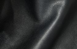 Genuine leather black color.  For background and texture. Genuine leather black color.  Background and Texture Stock Photography