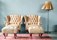Genuine leather classical style sofa Royalty Free Stock Photography