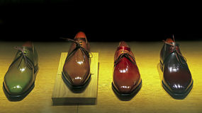 Genuine leather shoes for men. Collection of genuine leather shoes for men on display stock images