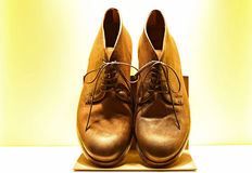 Genuine leather shoes for men. On display for sale Royalty Free Stock Photo