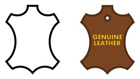 Genuine leather sign. Animal skin outline, black /white and brow royalty free illustration
