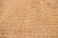 Genuine leather texture with imitation of exotic reptile, brown matte surface, trendy background. Ideal for clothing. Genuine leather texture with imitation of Royalty Free Stock Image
