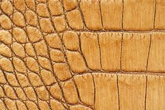 Genuine leather texture with imitation of exotic reptile, light orange brown matte surface, trendy background. Ideal. Material for footwear, leather accessories Royalty Free Stock Images
