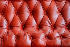 Genuine leather upholstery. Red furnishing buttoned leather background Royalty Free Stock Photo