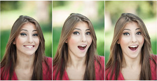Genuine natural brunette with long hair in park. Portrait of attractive woman with beautiful eyes laughing.  Cheerful young woman Royalty Free Stock Photos