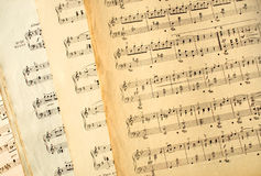 Genuine old music sheets. Royalty Free Stock Images