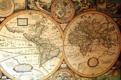 Old World Map in Hemispheres Royalty Free Stock Image