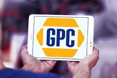 Genuine Parts Company, GPC, logo. Logo of Genuine Parts Company, GPC, on samsung tablet . Genuine Parts Company GPC is an American service organization engaged Royalty Free Stock Image