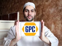 Genuine Parts Company, GPC, logo. Logo of Genuine Parts Company, GPC, on samsung tablet holded by arab muslim man. Genuine Parts Company GPC is an American Stock Image