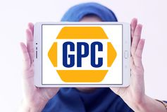 Genuine Parts Company, GPC, logo. Logo of Genuine Parts Company, GPC, on samsung tablet holded by arab muslim woman. Genuine Parts Company GPC is an American Royalty Free Stock Photos
