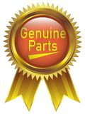 Genuine Parts Badge icon in gold royalty free stock photos