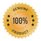 Genuine product stamp isolated on white. Genuine product stamp ribbon and badge style design element on white background Royalty Free Stock Photo