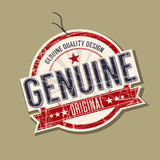 Genuine product tag. Genuine original product tag Royalty Free Stock Photo
