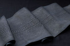 Genuine Python snakeskin leather, snake skin, texture, animal, reptile on a black background. Royalty Free Stock Photography