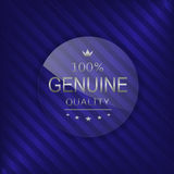 Genuine quality label. Glass badge with silver text, Luxury emblem Royalty Free Stock Images