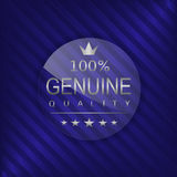 Genuine quality label. Glass badge with silver text, Luxury emblem Stock Photo