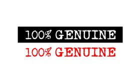 100% genuine rubber stamp badge with typewriter set text logo de. 100% genuine red grunge rubber stamp badge with typewriter font on various styles set Vector Illustration