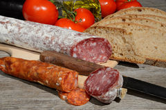 Genuine salami and bread Royalty Free Stock Images