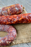 Genuine salami. Napoli type sweet and spicy sausages Stock Image