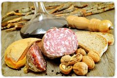 Genuine salami Royalty Free Stock Photography