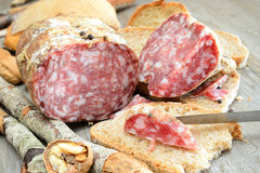 Genuine salami Stock Photo