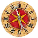 Genuine seventeenth century clock face. Isolated on a white background stock photos