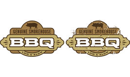 Genuine Smokehouse Barbecue Symbol. Barbecue symbol/icon with pig silhouettes. Includes clean and grunge versions. Easy to edit shapes and colors Royalty Free Stock Photos