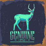 Genuine Style - impala vector vintage label Royalty Free Stock Photography