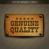Genuine style leather label design Stock Photos