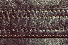 Genuine vintage leather with seam Stock Image