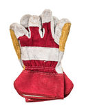 Genuine white leather and red fabric work gloves Royalty Free Stock Image