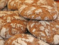 Genuine whole wheat bread baked in an oven Stock Photo