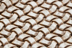 Genuine wicker leather texture, brown color, close-up. With place for your text, for background use Stock Images