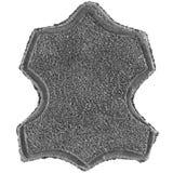 Genuino tutta l'etichetta di cuoio ha stampato l'etichetta dell'icona del testo, struttura granulosa grigia della pelle scamoscia Fotografia Stock