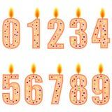 Genummerde verjaardagskaarsen royalty-vrije stock fotografie
