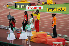 Genzebe Dibaba de Etiopía ganó 1500 metros de medalla de oro en los campeonatos Pekín del mundo de IAAF Fotografía de archivo