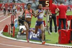 Genzebe Dibada and Almaz Ayana Areva meeting at the Stade de France Royalty Free Stock Image