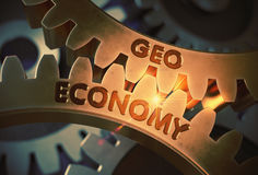 Geo Economy on the Golden Metallic Gears. 3D Illustration. Stock Image