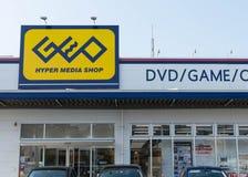 GEO-Hypermedien-Geschäft, das DVDs, Spiele und komisches Manga in Japan verkauft lizenzfreie stockbilder