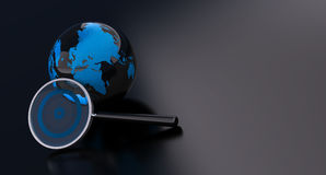 Geo location - earth over a black background Royalty Free Stock Image