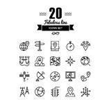 Geo location and navigation line icons set Royalty Free Stock Photography
