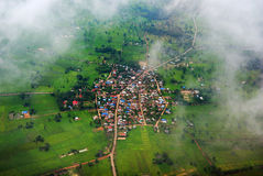 Geo Location Thailand. Local road by aerial photography in Thailand 's suburb Royalty Free Stock Photography