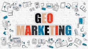 Free Geo Marketing On White Brick Wall. Royalty Free Stock Image - 79421316