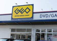 GEO Hypermedia Shop that sells DVDs, Games and Comic Manga in Japan. stock image