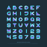 Geo square. Geometric style alphabet letters and numbers. font type design. modern lettering symbol. abstract, decorative typesetting. ornamental typeface stock illustration