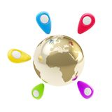 Geo tag emblems around Earth globe isolated Royalty Free Stock Photo